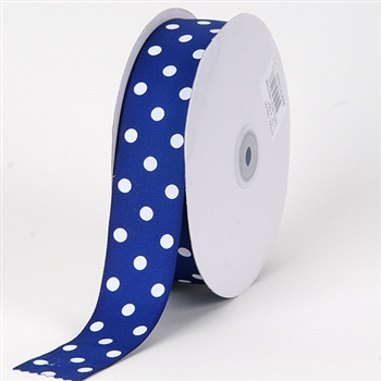 3/8 Inch Royal Blue Polka Dot Grosgrain Ribbon