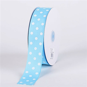 3/8 Inch Baby Blue Polka Dot Grosgrain Ribbon