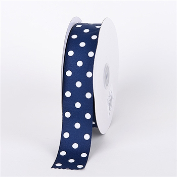3/8 Inch Navy Polka Dot Grosgrain Ribbon