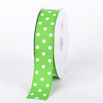 7/8 Inch Apple Green Polka Dot Grosgrain Ribbon