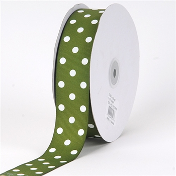 7/8 Inch Old Willow Polka Dot Grosgrain Ribbon