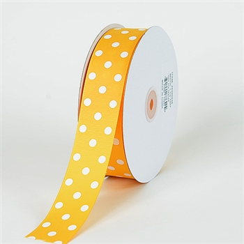 7/8 Inch Light Gold Polka Dot Grosgrain Ribbon