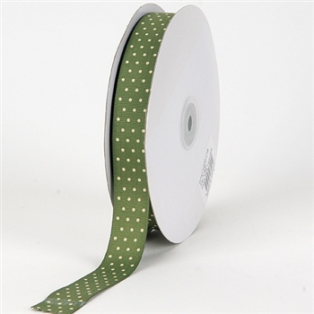3/8 Inch Old Willow Swiss Dot Grosgrain Ribbon