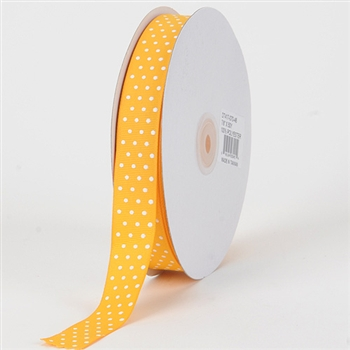 3/8 Inch Light Gold Swiss Dot Grosgrain Ribbon