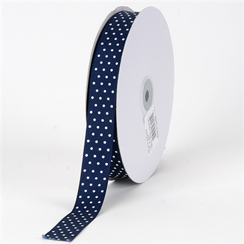 3/8 Inch Navy Swiss Dot Grosgrain Ribbon