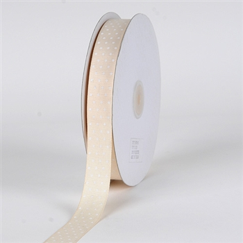 3/8 Inch Ivory Swiss Dot Grosgrain Ribbon