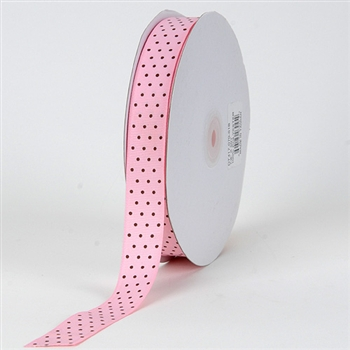 3/8 Inch Light Pink w/ Brown Dots Swiss Dot Grosgrain Ribbon