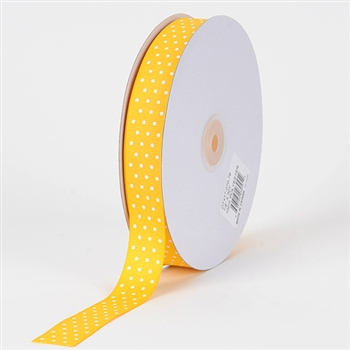 3/8 Inch Yellow Swiss Dot Grosgrain Ribbon