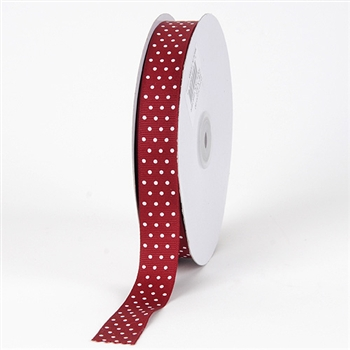 3/8 Inch Burgundy Swiss Dot Grosgrain Ribbon