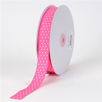 3/8 Inch Hot Pink Swiss Dot Grosgrain Ribbon