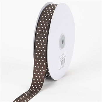 3/8 Inch Chocolate Brown Swiss Dot Grosgrain Ribbon
