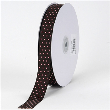 3/8 Inch Chocolate Brown w/ Pink Dots Swiss Dot Grosgrain Ribbon