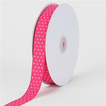 5/8 Inch Fuchsia w/ White Swiss Dot Grosgrain Ribbon