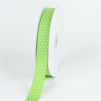 5/8 Inch Kiwi Swiss Dot Grosgrain Ribbon