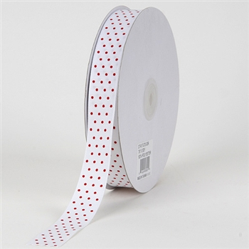 5/8 Inch White w/ Red Swiss Dot Grosgrain Ribbon