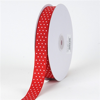 5/8 Inch Red Swiss Dot Grosgrain Ribbon