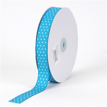 5/8 Inch Turquoise Swiss Dot Grosgrain Ribbon