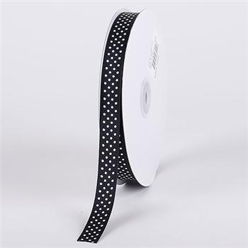 7/8 Inch Black w/ White Swiss Dot Grosgrain Ribbon