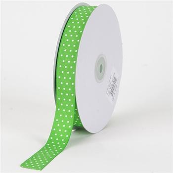 7/8 Inch Apple Green Swiss Dot Grosgrain Ribbon