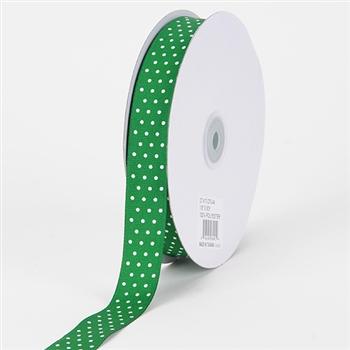 7/8 Inch Emerald Swiss Dot Grosgrain Ribbon