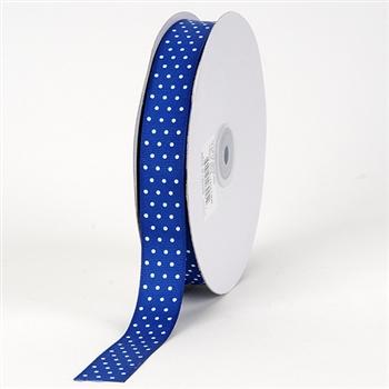 7/8 Inch Royal Blue Swiss Dot Grosgrain Ribbon