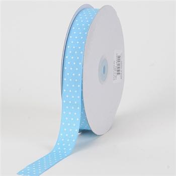 7/8 Inch Baby Blue Swiss Dot Grosgrain Ribbon