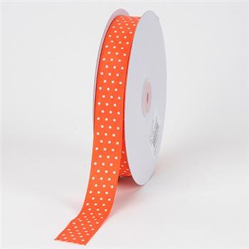 7/8 Inch Orange Swiss Dot Grosgrain Ribbon