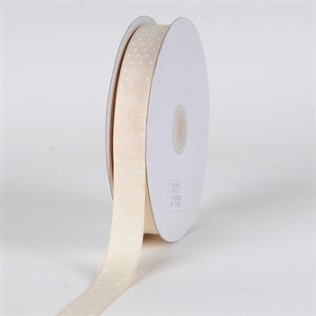 7/8 Inch Ivory Swiss Dot Grosgrain Ribbon