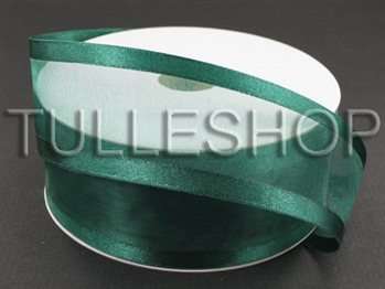 1-1/2 Inch Hunter Green Organza Ribbon Two Satin Edges