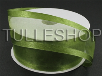 1-1/2 Inch Spring Moss Organza Ribbon Two Satin Edges