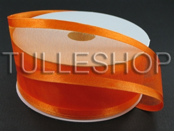 1-1/2 Inch Orange Organza Ribbon Two Satin Edges