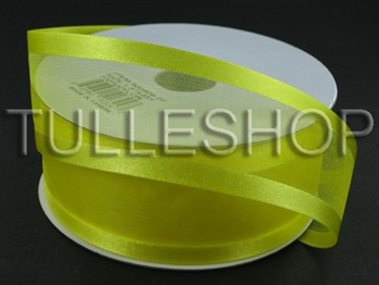 1-1/2 Inch Yellow Organza Ribbon Two Satin Edges