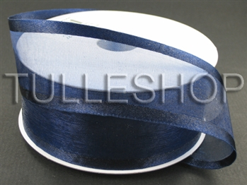 1-1/2 Inch Navy Blue Organza Ribbon Two Satin Edges