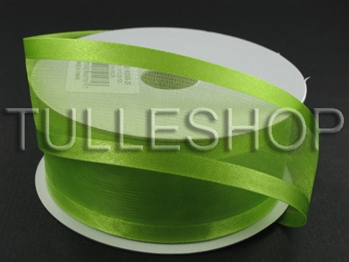 1-1/2 Inch Kiwi Green Organza Ribbon Two Satin Edges