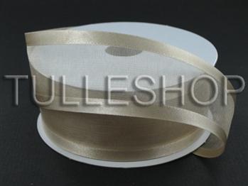 1-1/2 Inch Tan Organza Ribbon Two Satin Edges