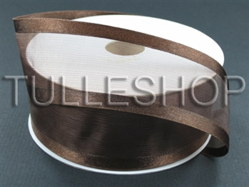 1-1/2 Inch Brown Organza Ribbon Two Satin Edges
