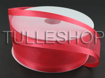 1-1/2 Inch Watermelon Organza Ribbon Two Satin Edges