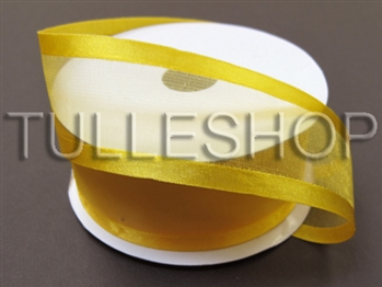 1-1/2 Inch Light Gold Organza Ribbon Two Satin Edges