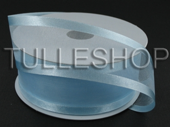 7/8 Inch Light Blue Organza Ribbon Two Satin Edges