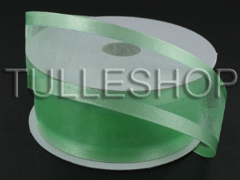7/8 Inch Minty Green Organza Ribbon Two Satin Edges