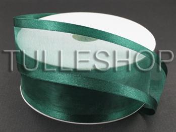 7/8 Inch Hunter Green Organza Ribbon Two Satin Edges