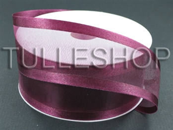 7/8 Inch Burgundy Organza Ribbon Two Satin Edges