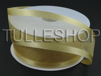 7/8 Inch Gold Organza Ribbon Two Satin Edges