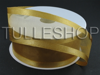 7/8 Inch Old Gold Organza Ribbon Two Satin Edges