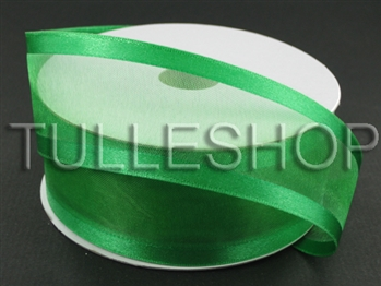7/8 Inch Emerald Organza Ribbon Two Satin Edges