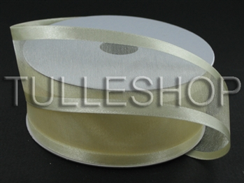 7/8 Inch Ivory Organza Ribbon Two Satin Edges