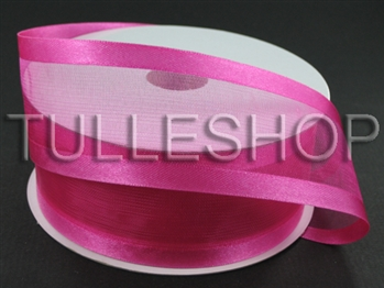7/8 Inch Fuchsia Organza Ribbon Two Satin Edges