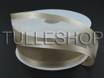7/8 Inch Tan Organza Ribbon Two Satin Edges