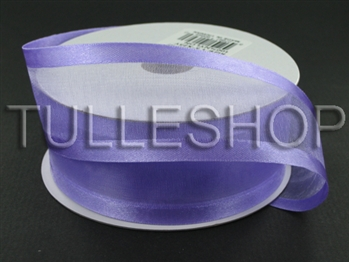 7/8 Inch Light Orchid Organza Ribbon Two Satin Edges