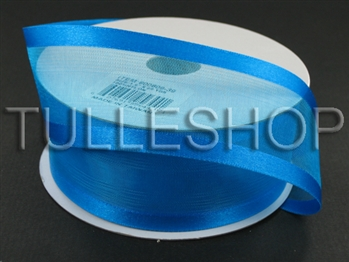 7/8 Inch Turquoise Organza Ribbon Two Satin Edges